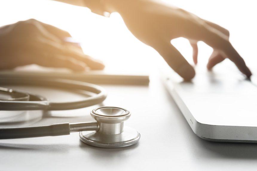 doctors desk at work, stethoscope