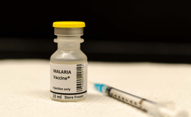 Malaria vaccine vial and syringe