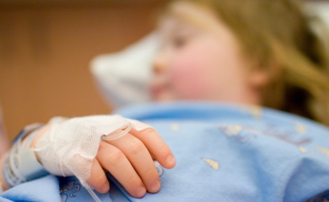 Pediatric hospitalization, child in hospital, IV