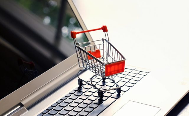 shopping cart, laptop