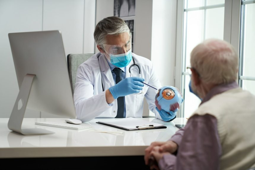 Elderly citizen visiting ophthalmologist for a quick eye check-up